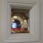 Meetinghouse reflected in Audio Room window